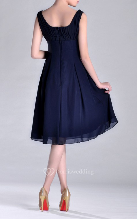 Scooped A-line Pleated Chiffon Knee-length Bridesmaid Dress - 4