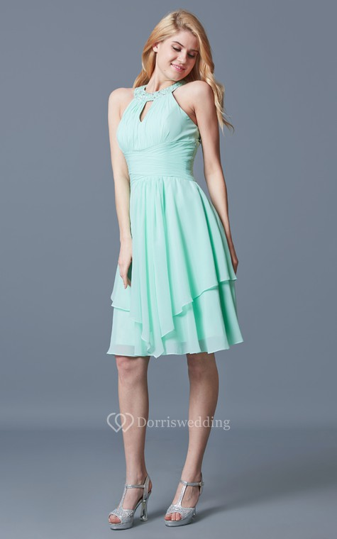 Elegant Sleeveless Tiered Knee Length Chiffon Dress With Keyhole Back - 3
