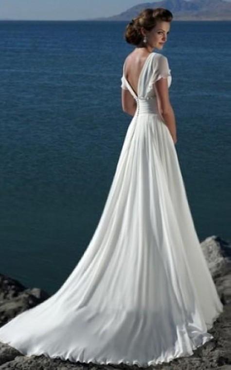 A-line V-neck Short Sleeves Beading Sweep Train Chiffon Beach Wedding Dress - 2