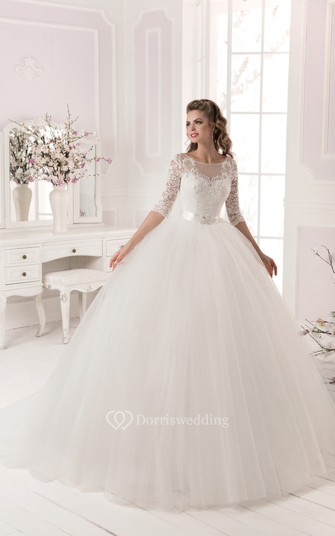 Ball Gown Lace&Tulle Long Sleeve Dress with Crystal Detailing - 1