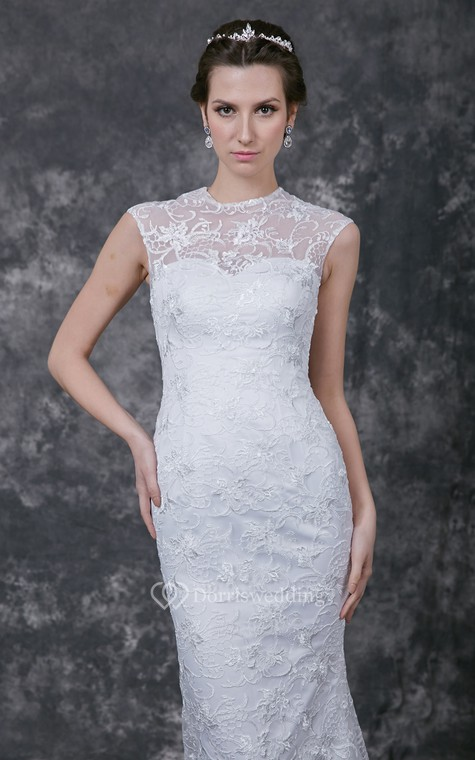 Sophisticated Cap-sleeved High Neck Slim-line Lace and Charmeuse Wedding Gown - 4