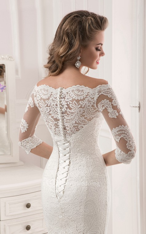 Half Sleeve Scalloped Neckline Lace Mermaid Dress - 5