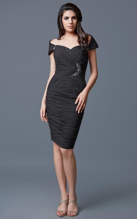 Classic Off-shoulder Brooched Stretch Mesh Formal Dress - 1