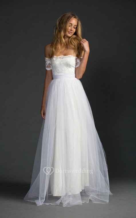 Off-The-Shoulder A-Line Tulle Dress With Lace Bodice - 1