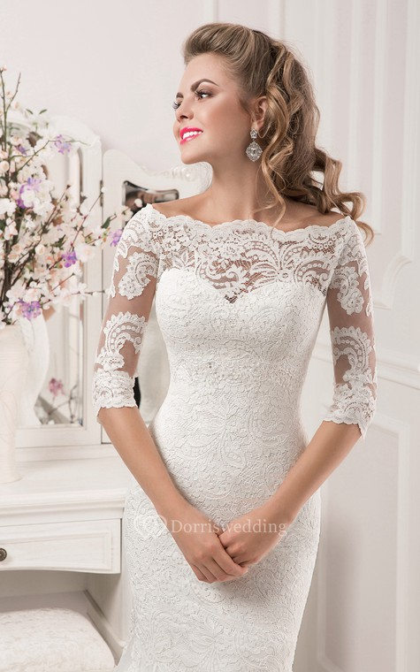 Half Sleeve Scalloped Neckline Lace Mermaid Dress - 2