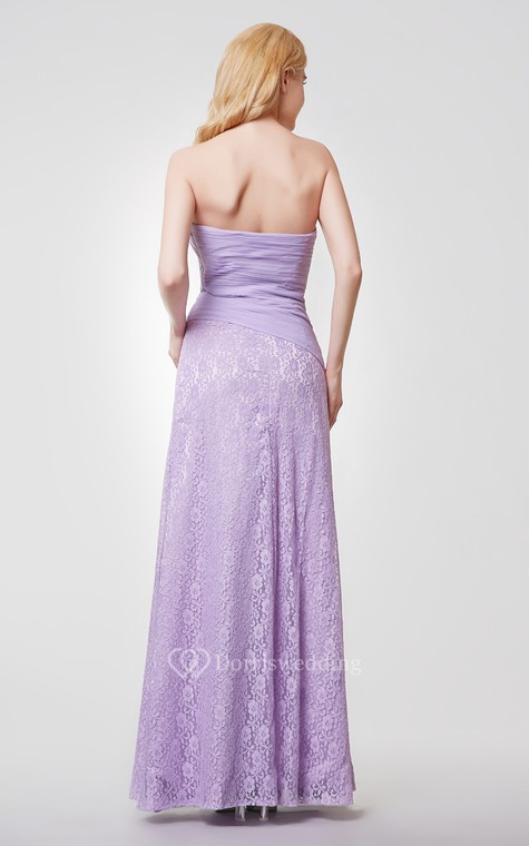 Sweetheart Backless Floral Long Chiffon and Lace Dress - 3