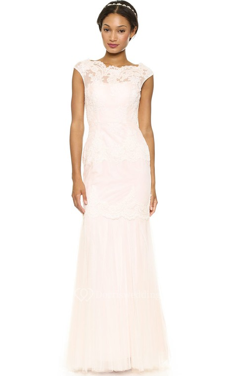 Long Bateau Sheath Lace Dress With Keyhole - 1