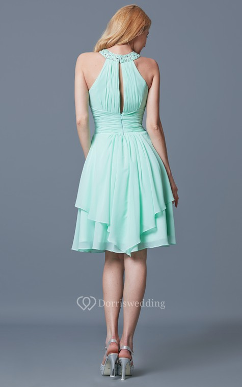 Elegant Sleeveless Tiered Knee Length Chiffon Dress With Keyhole Back - 4