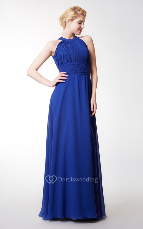 Chic High Neck Chiffon Gown With Ruching and Keyhole - 4