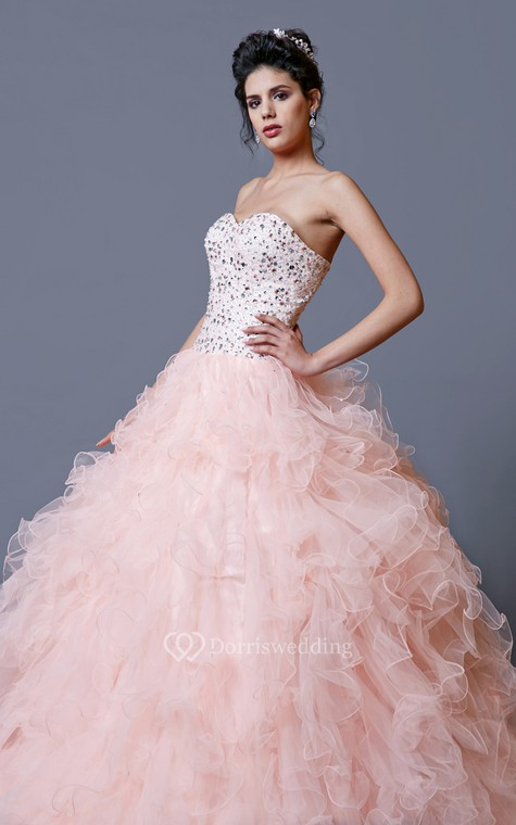 Elegant Crystal Ruffled Quinceanera Dress With Jacket - 3