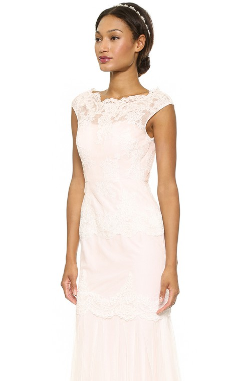 Long Bateau Sheath Lace Dress With Keyhole - 3