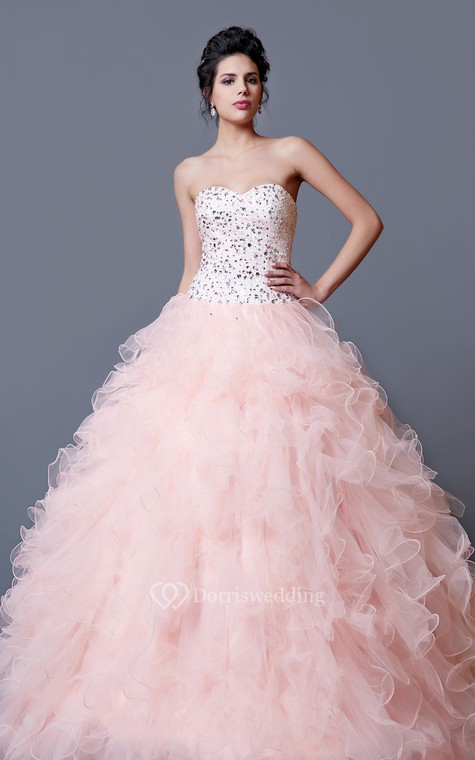 Elegant Crystal Ruffled Quinceanera Dress With Jacket - 2