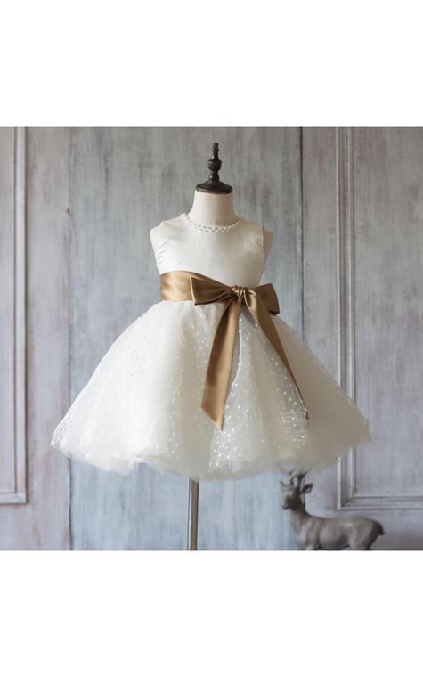 Jewel Neck Sleeveless Empire A-line Knee Length Tulle Dress With Satin Sash - 1