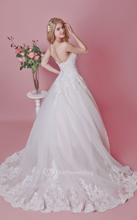 Romantic Sweetheart Floral Lace Applique and English Net Wedding Ball Gown - 1