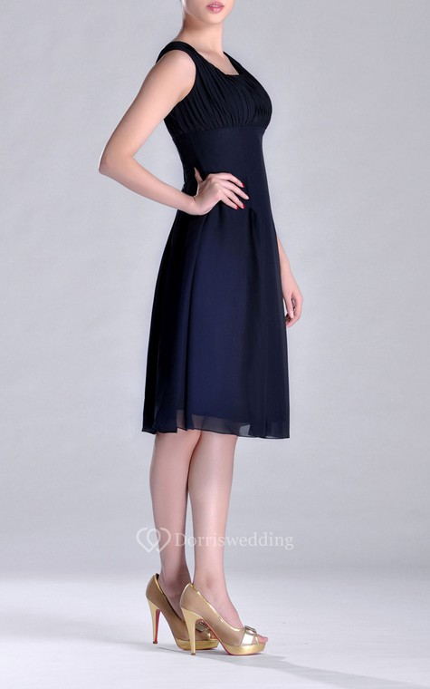 Scooped A-line Pleated Chiffon Knee-length Bridesmaid Dress - 3