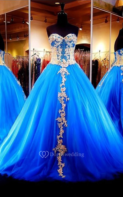 Ball Gown Long Appliques Zipper Lace-Up Back Tulle Lace Dress - 2