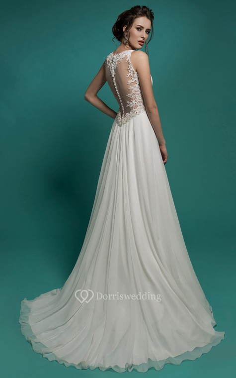 A-Line Floor-Length V-Neck Sleeveless Empire Illusion Chiffon Dress With Beading And Ruching - 2
