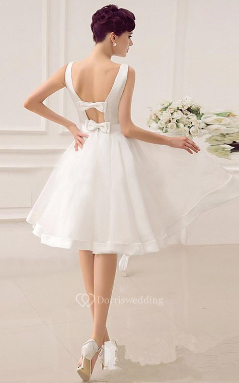 A-Line Sweetheart Sleeveless Backless Organza Dress - 3