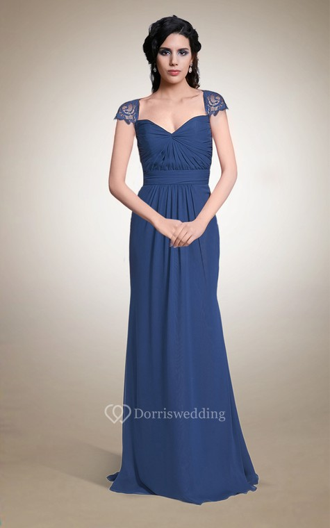 Queen Anne Neck Long Chiffon Dress With Keyhole Back - 1