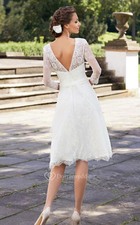 A line short scoop bell beading flower zipper lace sequins for 3rd time wedding dresses