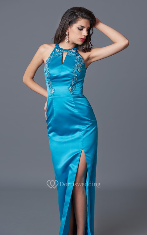 Feminine Sleeveless High Neck Sheath Satin Gown With Floral Beading - 2