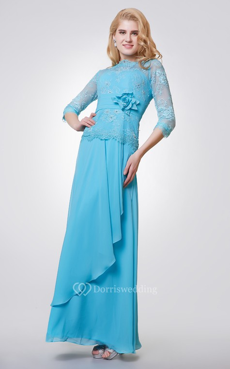 3-4 Length Sleeve Long Chiffon and Lace Dress With Side Draping - 2
