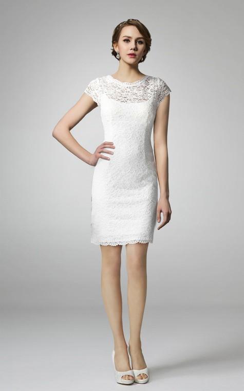 High Neck Form Fitting Lace Short Wedding Dress - 1