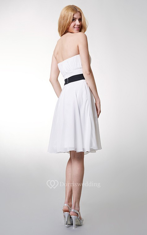 Classic Top-ruched Strapless Layered A-line Chiffon Dress - 3