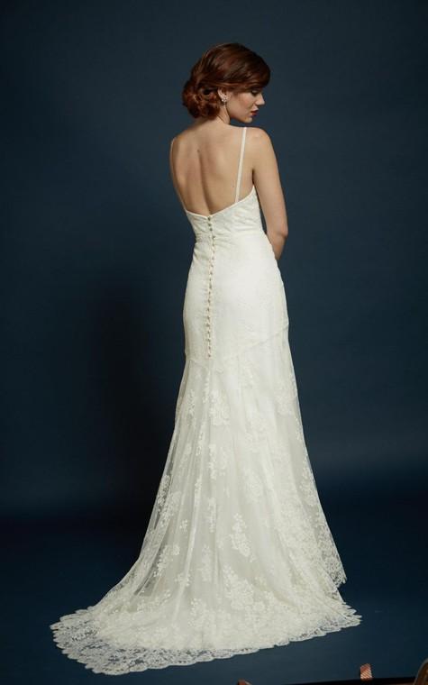 V-Neck Spaghetti Straps Sheath Lace Dress With Open Back - 3