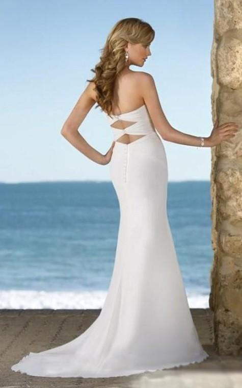 sheath Sweetheart Court Train Chiffon Wedding Dresses - 2