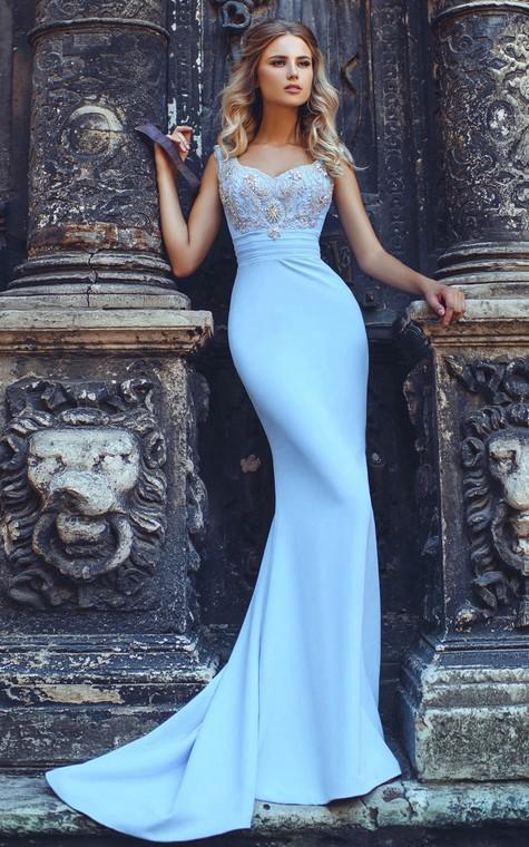 Mermaid Sweep V-Neck Short Sleeve Jersey Beading Pleats Lace-Up Dress - 1