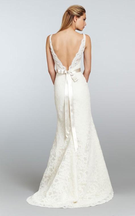 Stunning V-Neck Long Lace Dress With Crystal Ribbon Sash - 2