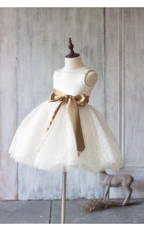 Jewel Neck Sleeveless Empire A-line Knee Length Tulle Dress With Satin Sash - 2