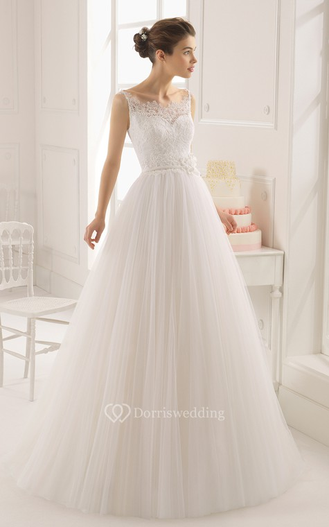 Dreaming Sleeveless A-Line Tulle Long Dress With Baeau Neckline - 1