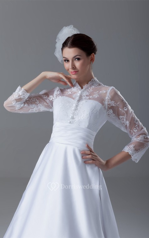 Exquisite Long Sleeve High Neck Satin Appliqued a Line Wedding Dresses - 3