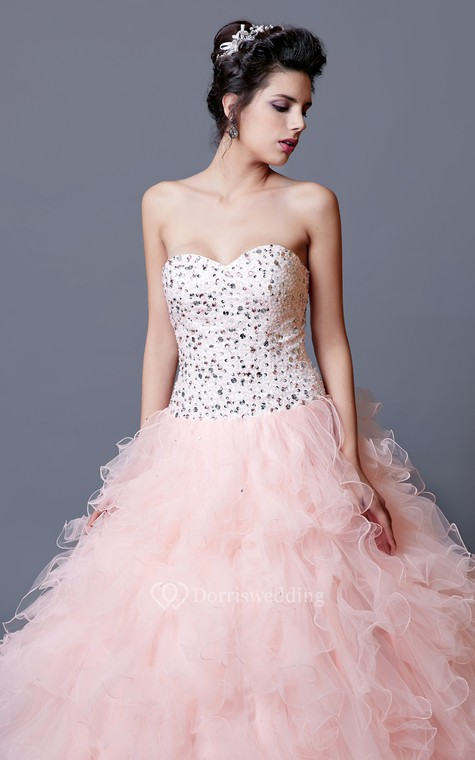 Elegant Crystal Ruffled Quinceanera Dress With Jacket - 6