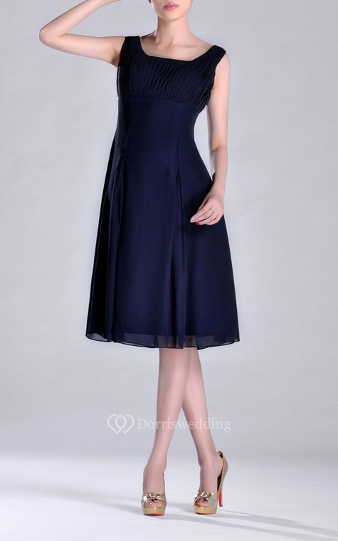 Scooped A-line Pleated Chiffon Knee-length Bridesmaid Dress - 6