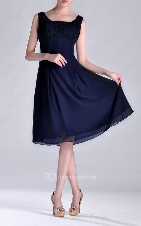 Scooped A-line Pleated Chiffon Knee-length Bridesmaid Dress - 1