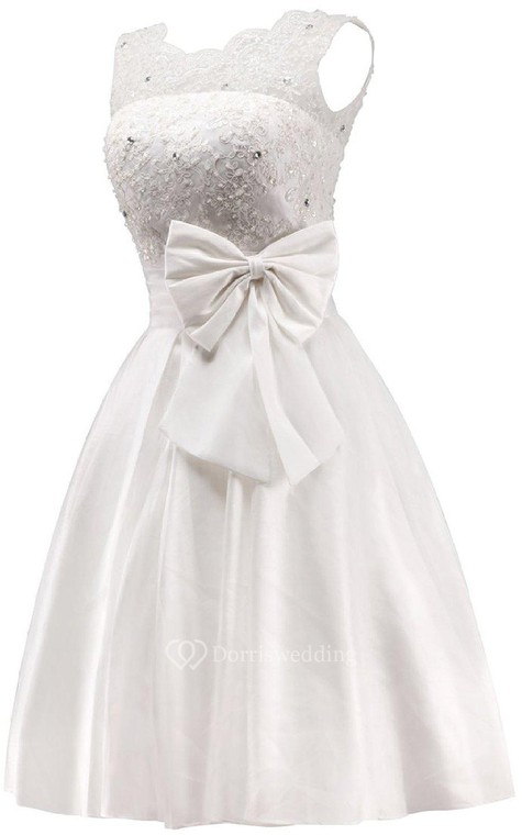 Sleeveless A-line Dress With Bow and Lace - 4