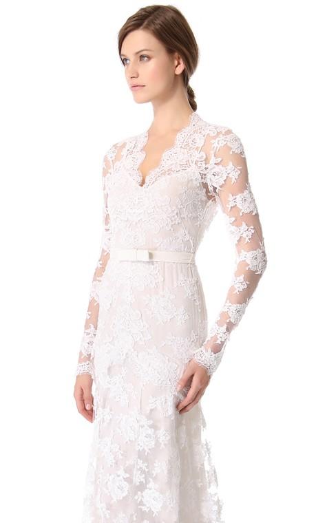 Unique Long Sleeves Long Low-V Sheath Lace Dress - 3
