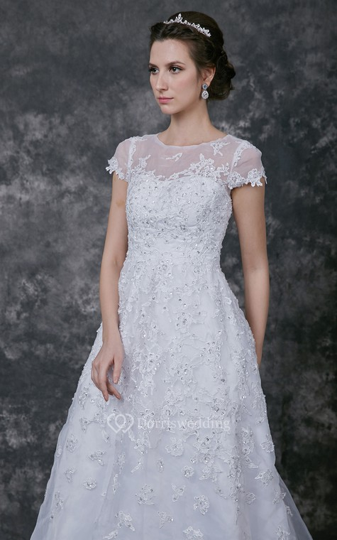 Modern Cap-sleeve Dress With Illusion Neckline and Beaded Lace Applique - 5
