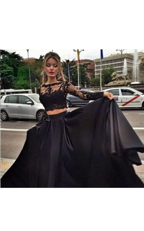 Ball Gown Long Sleeves Bateau Satin Floor-Length Dresses - 3