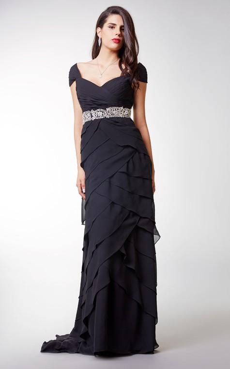 Short-sleeved Ruffled Chiffon A-line Long Formal Dress With Waistband - 3