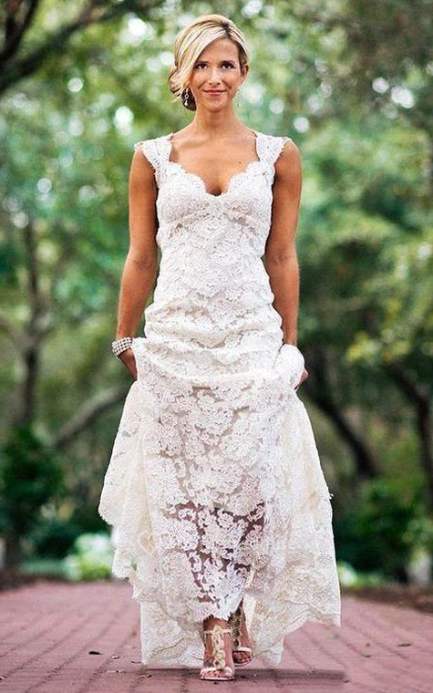 Cap Sleeves V Neck Allover Lace Long Dress With Back Keyhole - 1
