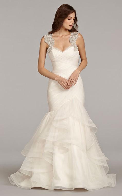 Stunning Sleeveless Ruched Flounced Dress With Beaded Embellished Keyhole Back - 1