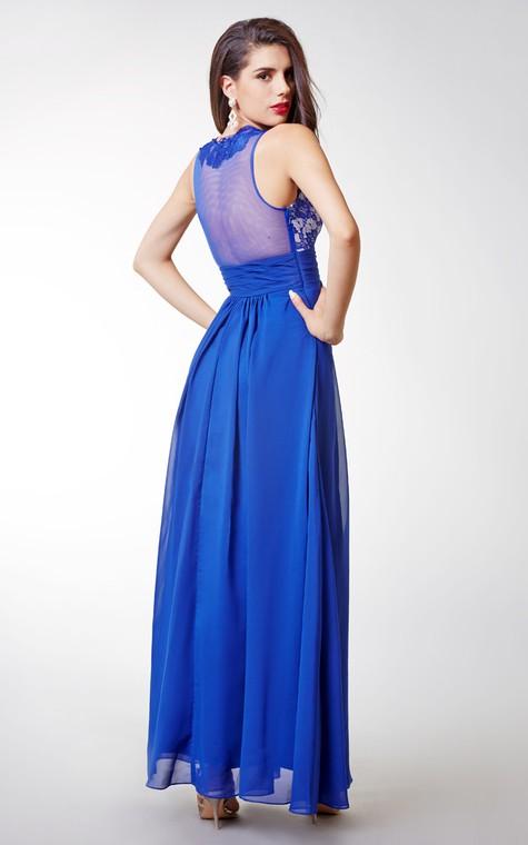 Stylish Sleeveless Long Chiffon Dress with Lace-embellished Bodice and Illusion Back - 2