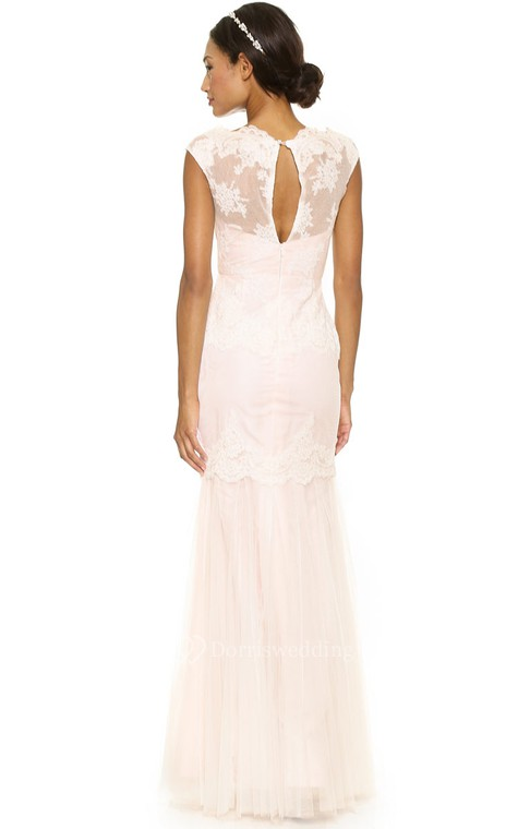 Long Bateau Sheath Lace Dress With Keyhole - 2