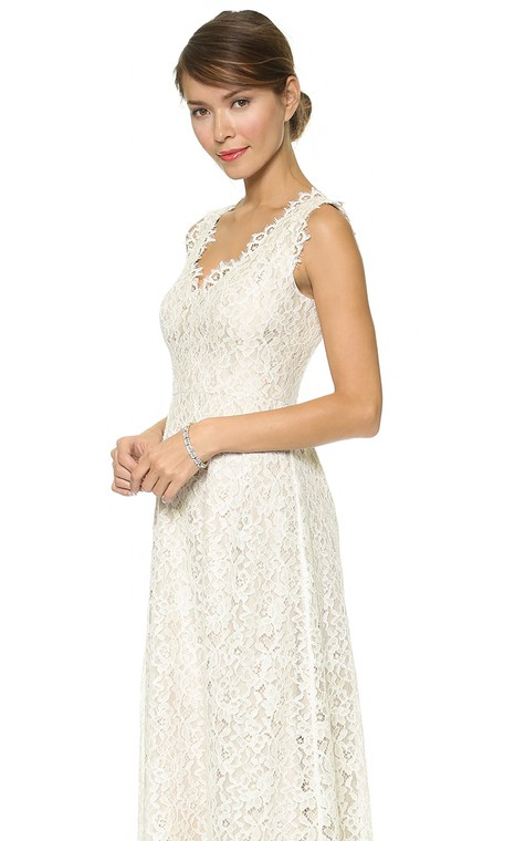 Long Neckline Sheath Lace Dress With Side Draping - 3