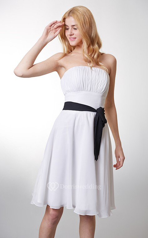 Classic Top-ruched Strapless Layered A-line Chiffon Dress - 4