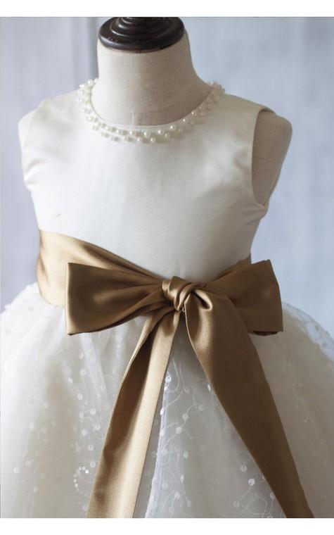 Jewel Neck Sleeveless Empire A-line Knee Length Tulle Dress With Satin Sash - 4